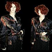 1980s Vintage French Silk Peplum Jacket Black Stripes M