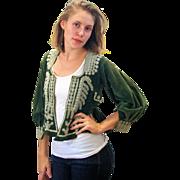 SALE Victorian Bolivian Altiplano Jacket, Green Velvet Beaded Bodice XS