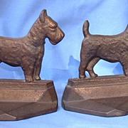 SALE 1929 art deco bronze cast iron Scotty bookends