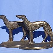 SALE 1929 cast iron Borzoi bookends