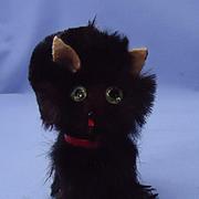 black fur cat green eyes French Fashion doll