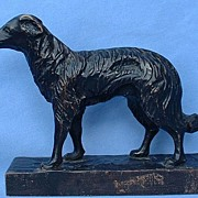 """black forest hand carved  wood Borzoi 8"""""""