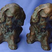 SALE 1930 McClelland Barclay bronze bookends Cocker spaniel signed