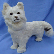 """antique Spitz dog candy container French fashion doll Germany 12"""""""