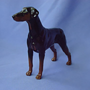 SALE 1990s Royal Doulton England Doberman Pinscher dog natural ears