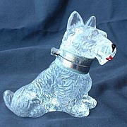 Czech deco Scottish terrier Scotty dog glass inkwell marked