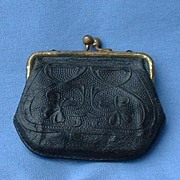 SALE antique embossed leather purse French fashion doll