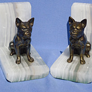 SALE vintage French bulldog bronze bookends