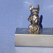 art deco silver plate French Bulldog match holder
