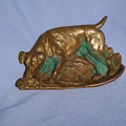 """Fox /  Rat terrier with rat bronze tray 6"""""""