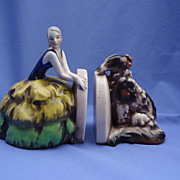 REDUCED 1903s art deco flapper and BORZOI bookends GOEBEL Germany