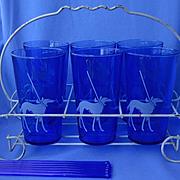 6 Borzoi Scotty Boston Terrier Pekingese cobalt glasses