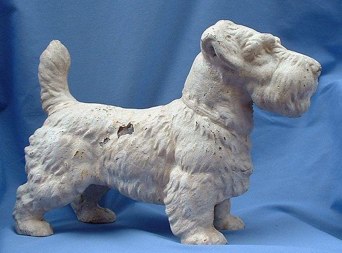 """RARE 1930s Hubley cast iron door stop  Sealyham terrier 14"""""""
