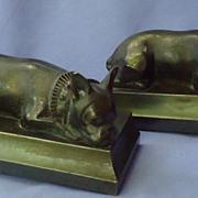 SALE 1930s French bulldog bronze bookends JB