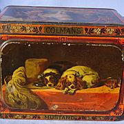 "Cavalier King Charles Scottish Deerhound Bull terrier Landseer Colman's tin 8"""