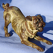 """antique Vienna bronze playing Pug Austria 5"""""""