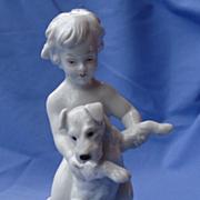 "SALE 1930s Rosenthal boy Fox terrier Schnauzer 6"""