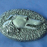 carved wood Borzoi pin 3""