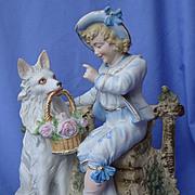"""SALE white German Shepherd spitz American Eskimo & boy Victorian bisque 11"""""""