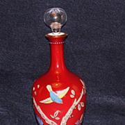 Moser Hand Enameled Bird & Flower Perfume Bottle