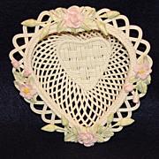 Belleek Rose of Tralee Heart Shaped Basket