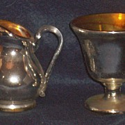 SALE PENDING Mercury Glass Sugar and Creamer