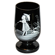 Black Amethyst Mary Gregory Footed Tumbler