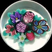 Vintage Ken Rosenfeld Strawberry and Flowers Lampwork Paperweight