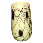 Rare Fenton Robert Barber Custard Hanging Hearts Art Glass Vase