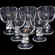 """SALE Lalique Clos Vougeot 6 3/4"""" Goblets-Set of Six"""