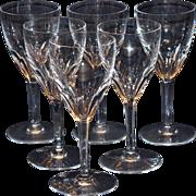 Set of Six Baccarat Genova Wine Goblets With Original Box