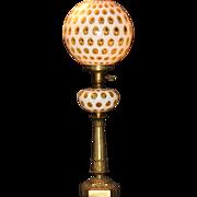 "Fenton Honeysuckle Coin Dot Banquet Lamp 28"""