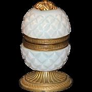 French Opaline Pineapple Shape Casket or Box with Ormolu Trim