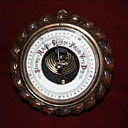 Ships Barometer - English Oak Rope Twist  - c.1900