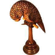 Wooden and Brass Parrot Pocket Watch Holder