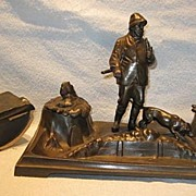 SALE Hunter and Dog Inkstand and Blotter