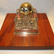 Betjemann's Victorian Partners Inkstand on Mahogany Base