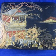 Papier Mache' Box with Oriental Scene on Lid