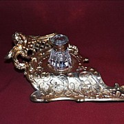 German Gilt Brass Inkwell with Crerub Decoration