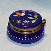 SALE Cobalt Hinged Glass Box with a Hand Painted Lid