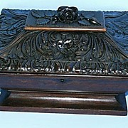 SALE Black Forest Hand Carved Box with Key.