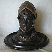 Painted Metal Joan of Arc Inkwell