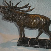 Bronze Stag on Marble Base
