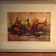 Beautiful Original Abstract Watercolor By B. J. Estes Framed
