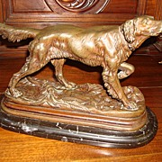 Original Antique French Bronze By Jules Moigniez Setter on Point