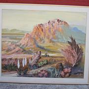 Val Samuelson Listed California Artist Desert Painting Oil on Canvas