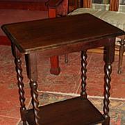 English Oak Barley Twist Lamp Table Side Table Stand