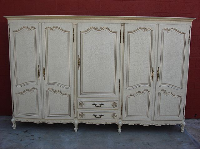 French Antique Armoire Wardrobe Closet Cabinet Shabby Chic