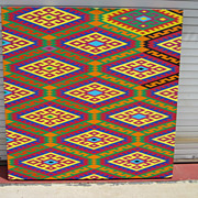 "Large Oil on Canvas By James ""Jim"" Andrew Nussbaum Abstract Huichol Art"