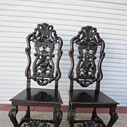 Pair of American Antique Ebonized Chairs Antique Furniture